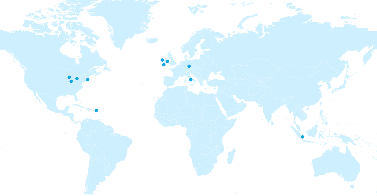 A map highlighting the abbvie manuafacturing locations with blue dots in Ireland, Puerto Rico, Germany, Italy, Singapore, and the USA.