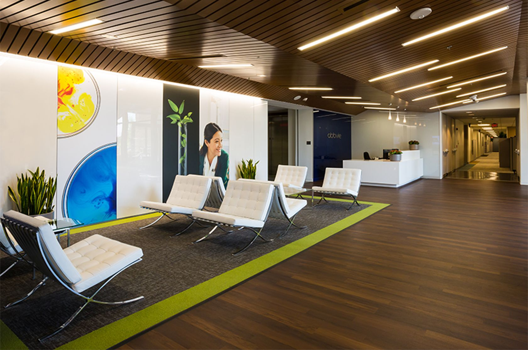 The lobby of AbbVie's North Chicago location.